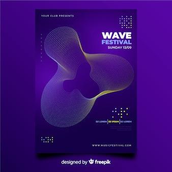 Шаблон плаката абстрактные волны музыки