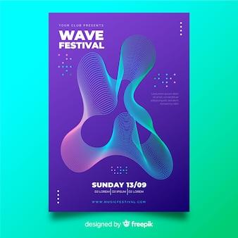 Шаблон плаката абстрактные волны музыки Бесплатные векторы