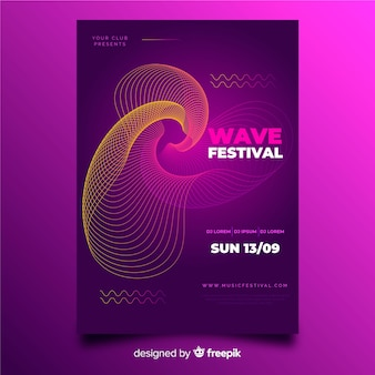 Abstract waves music poster template