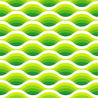 Abstract waves seamless pattern in green colors