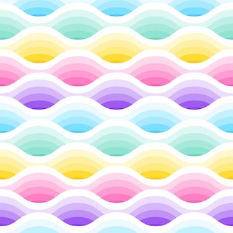 Abstract waves seamless pattern in pastel colours