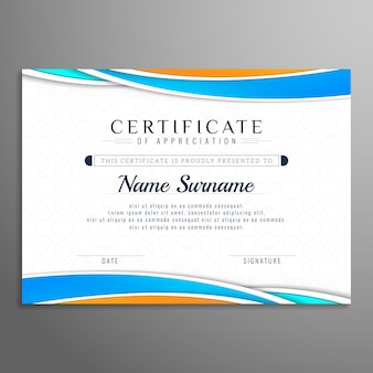 Abstract wavy beautiful certificate design template