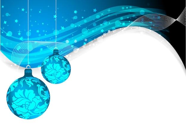 Абстрактный волнистый синий фон с елочными шарами и блестящими кругами
