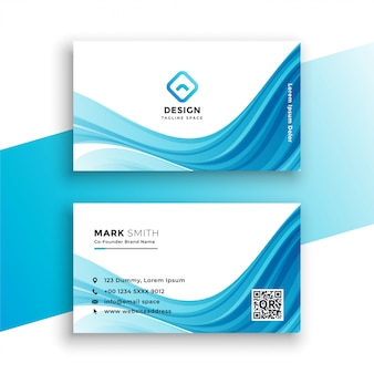 Abstract wavy blue business card template