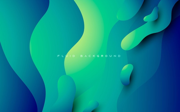 Abstract wavy blue and green gradient background