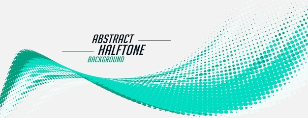 Abstract wavy blue halftone banner on white background