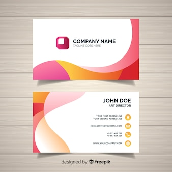 Abstract wavy business card template