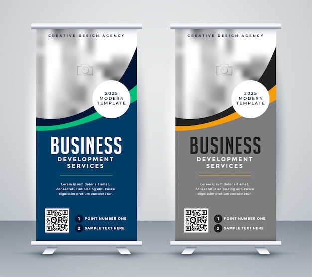 Abstract wavy business standee rollup banner design