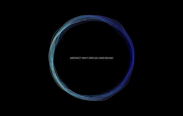 抽象的な波状の円の線は、黒の背景に分離されたフレームの青い色を丸めます。テクノロジーモダンコンセプト。ベクトルイラスト