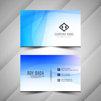 Abstract wavy elegant blue business card template