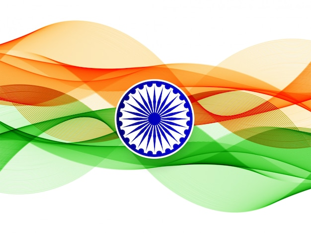 Abstract wavy indian flag background