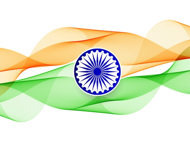 Abstract wavy indian flag banner