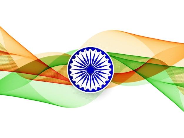 抽象的な波状のインドの旗のデザインの背景ベクトル