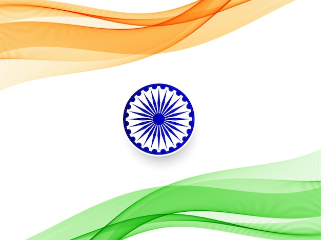 Abstract wavy indian flag design background