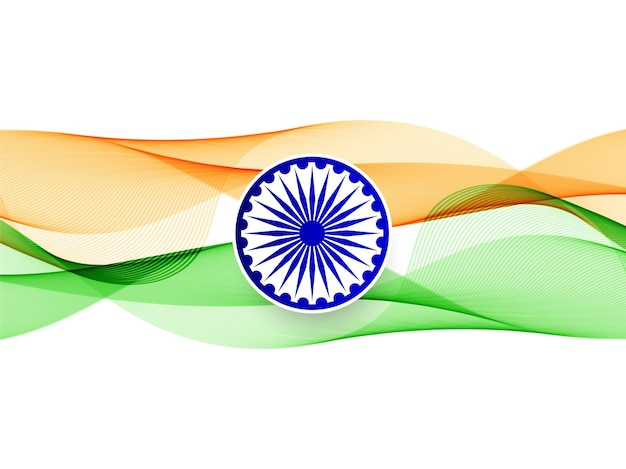 抽象的な波状のインドの旗のデザイン