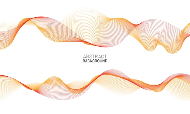 Абстрактный фон волнистые линии. красная динамическая волна, изолированные на белом фоне