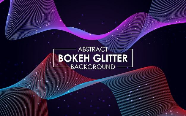 Abstract wavy lines background with sparkling glitter