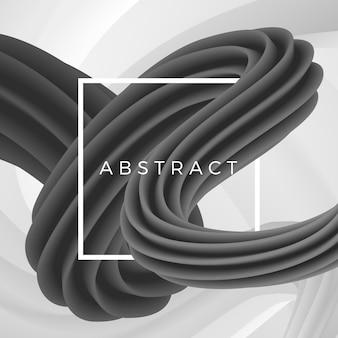 白いフレームと幾何学的な背景に抽象的な波状オブジェクト。図