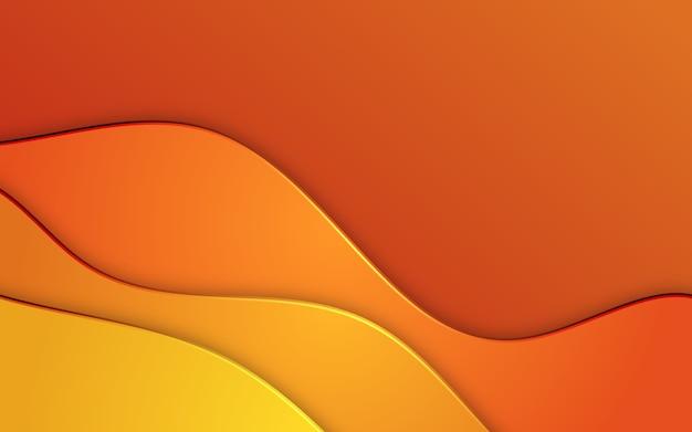オレンジ色の抽象的な波状のペーパーカットの背景