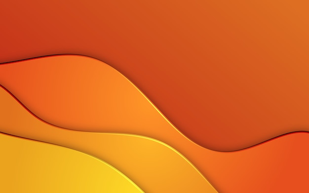 Abstract wavy papercut background on orange colors