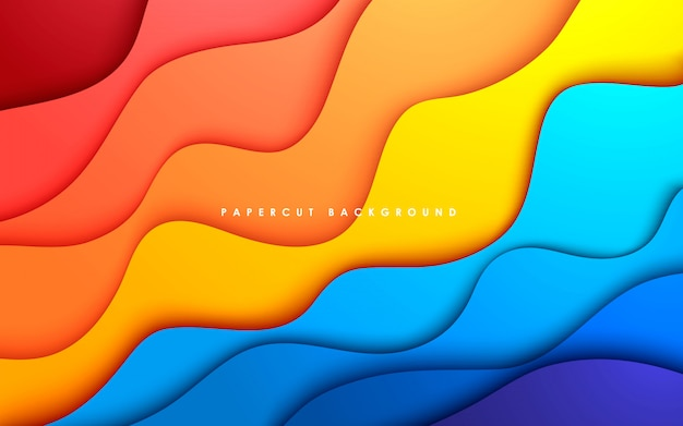 Abstract wavy papercut colorful background