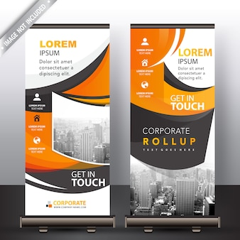 Abstract wavy roll up banner
