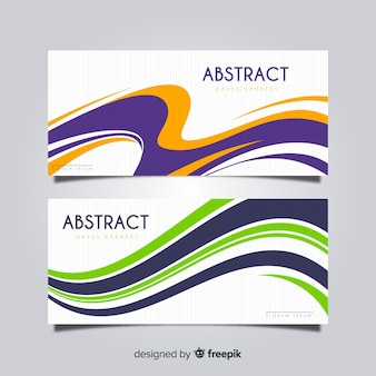 Abstract wavy shape banner set