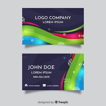 Abstract wavy shape business card template