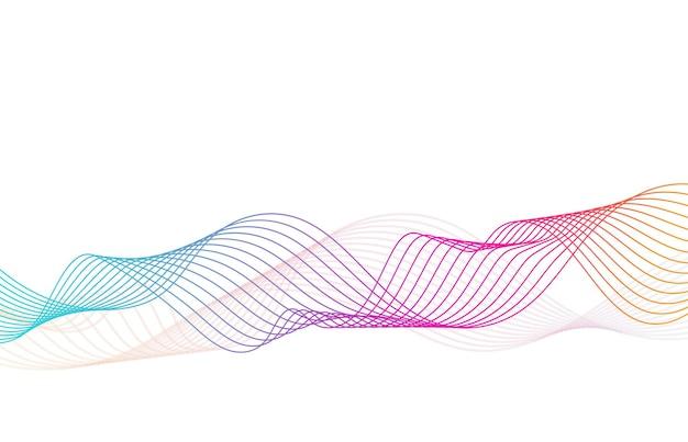 추상 물결 모양의 줄무늬 흰색 배경에 다채로운 웨이브 라인 많은 컬러 라인의 물결