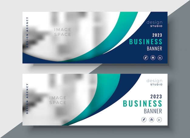 Astratto design di due banner web business ondulato Vettore gratuito