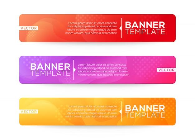 抽象的なwebバナーデザインの背景またはヘッダーテンプレート。カラフルな明るい色の流体グラデーション形状の構成