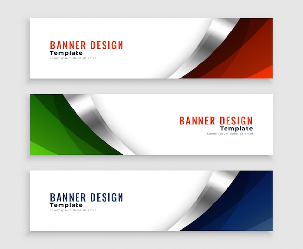 Abstract web banners set in wavy curve shape