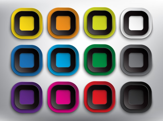 Abstract   web buttons set of 12. blank round square paper buttons. isolated