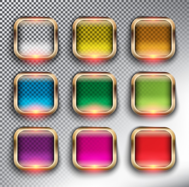 Abstract   web buttons set of 9. square glass web buttons with bronze frame. isolated