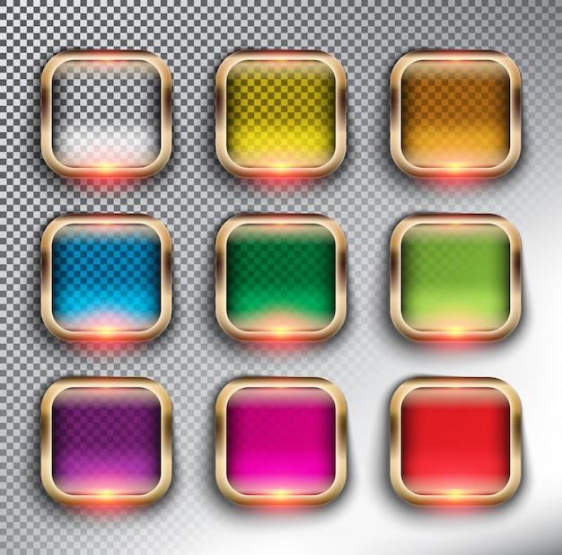 抽象的なwebボタンセット9。ブロンズフレームの正方形のガラスのwebボタン。孤立した