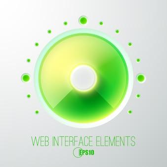 緑色のライトボリュームボタンと抽象的なウェブコンセプト