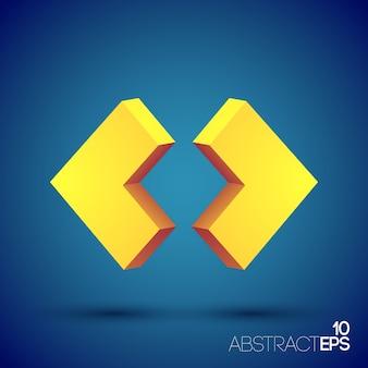 Абстрактная веб-концепция с двумя изолированными оранжевыми 3d геометрическими фигурами