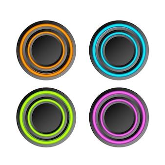 Raccolta di elementi web astratti con pulsanti rotondi scuri e anelli colorati su bianco isolato
