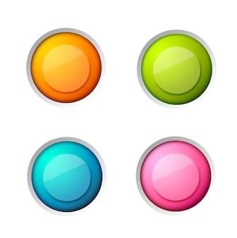 分離された白のカラフルな空白の光沢のある丸いボタンで設定された抽象的なウェブ要素