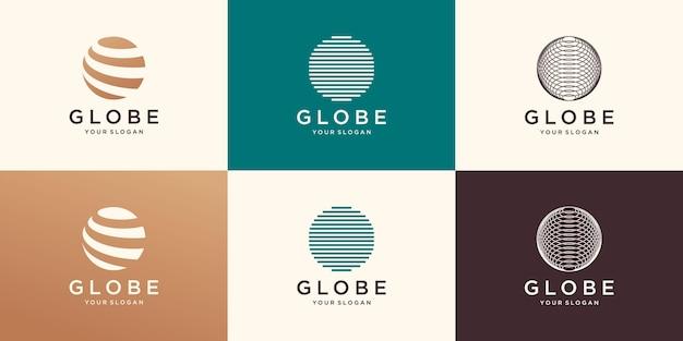 抽象的なウェブアイコンと地球のロゴ