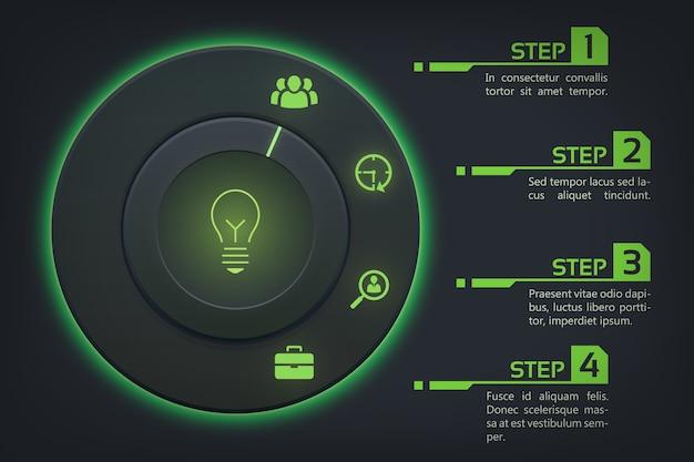 Абстрактная концепция веб-инфографики с круглыми кнопками зеленой подсветкой и значками