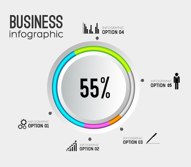 Абстрактная веб-инфографика с серыми круглыми кнопками, красочными окантовками бизнес-значков и пятью вариантами