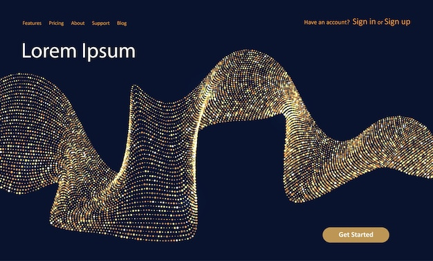 Abstract website landing page with a glittery gold dots design