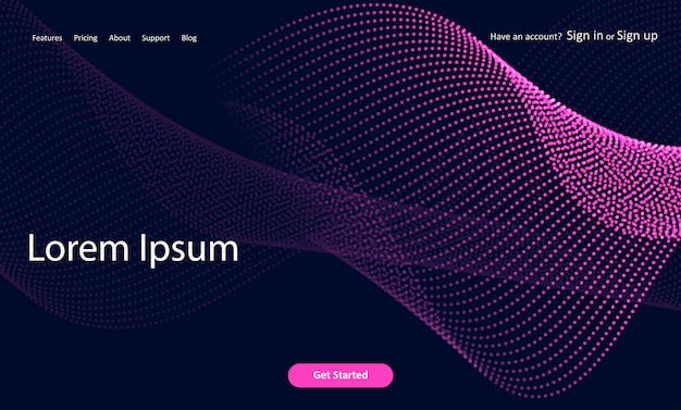 Abstract website landing page with halftone dots design