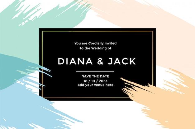 抽象的なウェディングカードの招待状のテンプレート