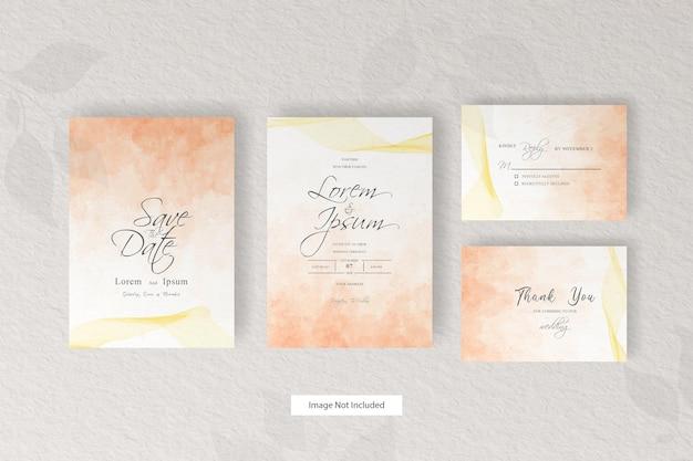 エレガントな水彩装飾と抽象的な結婚式の招待カードテンプレート