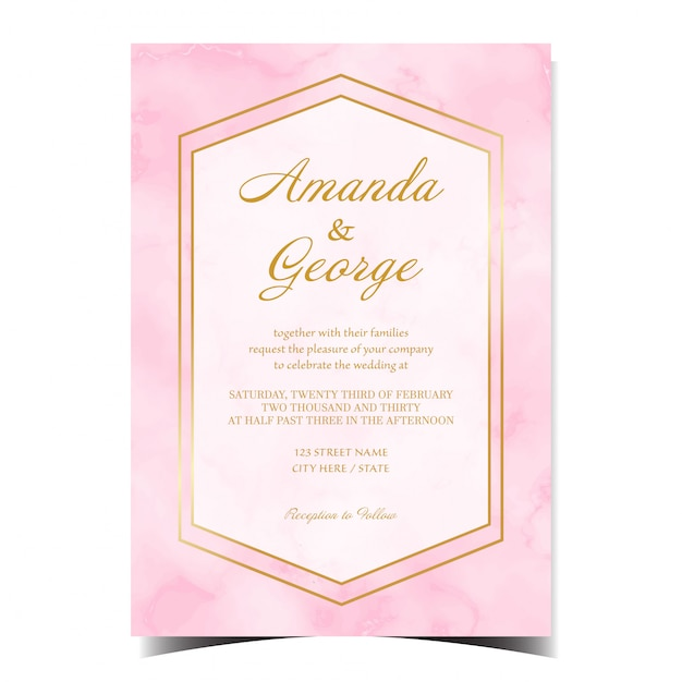 Abstract wedding invitation card with pink marble