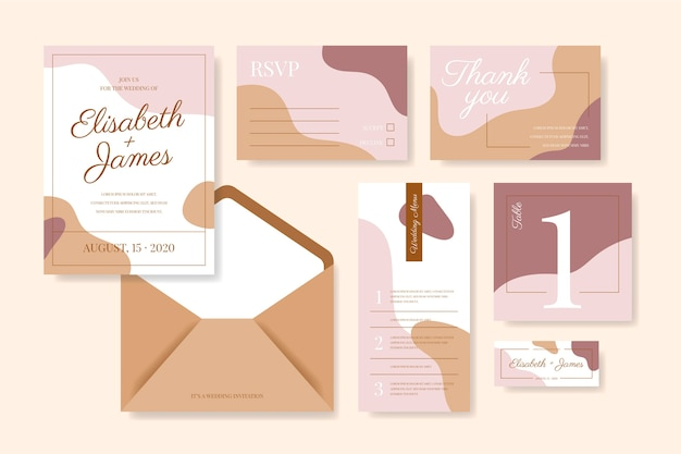 Abstract wedding stationery