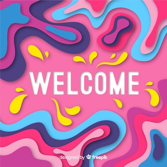 Abstract welcome composition with origami style