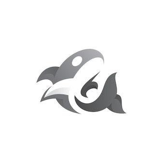 Abstract whale logo